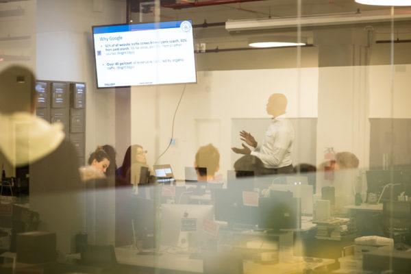 brian lee presenting marketing presentation at the freelancers hub in NYC